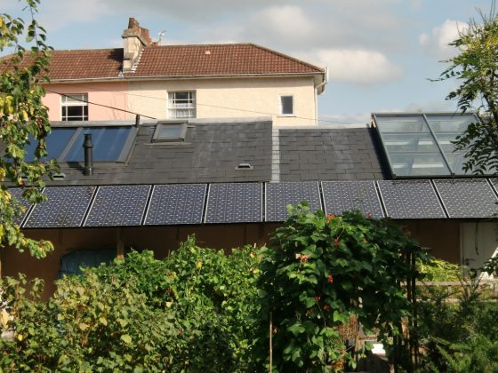 Solar PV Installed on pergola generating renewable electricity