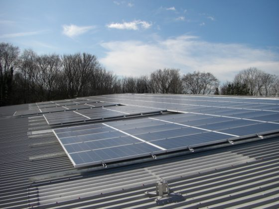 Large commercial solar installations. On the roof of a new build industrial unit in Clevedon