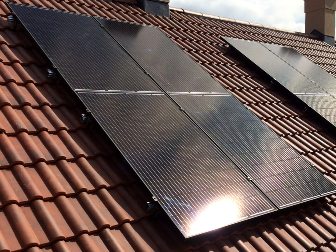 Example of solar panel installation for new build